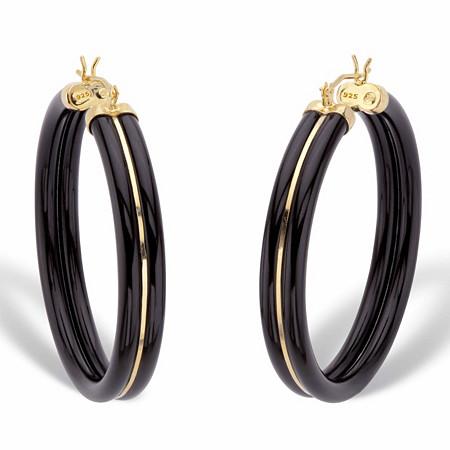 "Genuine Black Jade Polished Hoop Earrings in 14k Gold over Sterling Silver 1.75"" at PalmBeach Jewelry"