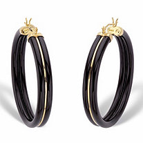 Genuine Black Jade Polished Hoop Earrings in 14k Gold over Sterling Silver 1.75""
