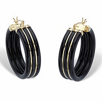 Genuine Black Jade Polished Hoop Earrings in 14k Gold over Sterling Silver 1.33