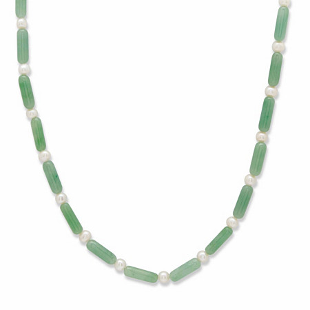 """Genuine Green Jade and Freshwater Pearl Barrel Beaded Necklace in Solid 10k Yellow Gold 20"""" at PalmBeach Jewelry"""