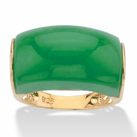 Genuine Green Jade Lucky Symbols Dome Ring in 14k Gold over Sterling Silver at PalmBeach Jewelry
