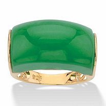 Genuine Green Jade Lucky Symbols Dome Ring in 14k Gold over Sterling Silver