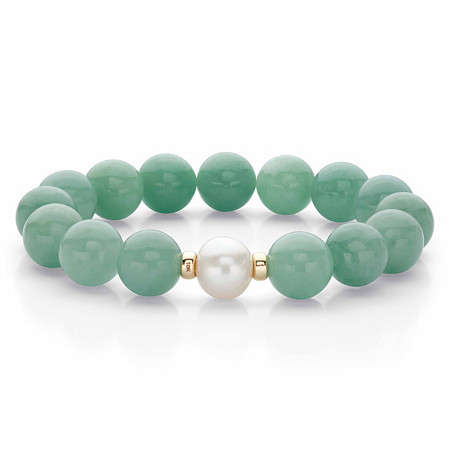 """Genuine Green Jade and Freshwater Pearl Beaded Stretch Bracelet in 10k Yellow Gold 9"""" at PalmBeach Jewelry"""