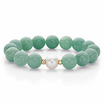 Genuine Green Jade and Freshwater Pearl Beaded Stretch Bracelet in 10k Yellow Gold 9""