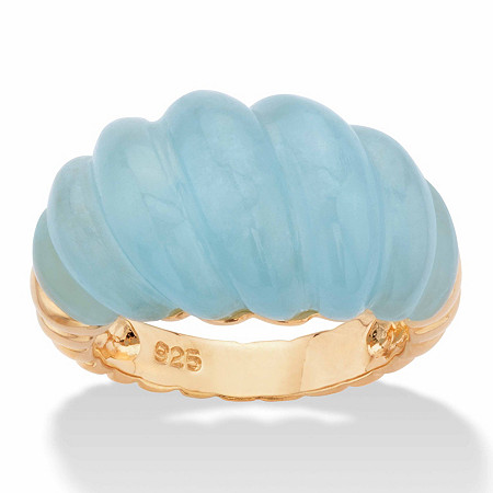 Genuine Aquamarine Shrimp-Style Ring 20 TCW in 14k Gold over Sterling Silver at PalmBeach Jewelry