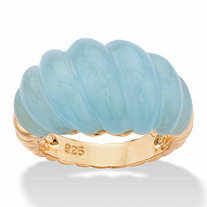 Genuine Aquamarine Shrimp-Style Ring 20 TCW in 14k Gold over Sterling Silver