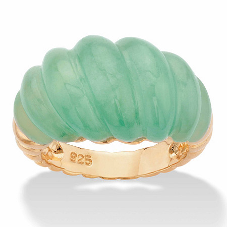 Polished Genuine Green Jade Shrimp-Style Ring in 14k Gold over Sterling Silver at PalmBeach Jewelry