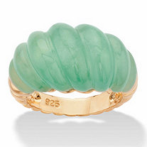 Polished Genuine Green Jade Shrimp-Style Ring in 14k Gold over Sterling Silver