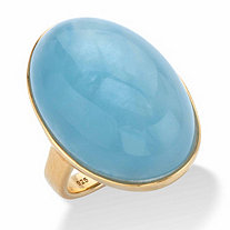 Oval-Cut Genuine Aquamarine Cabochon Ring 12.60 TCW in 14k Gold over Sterling Silver