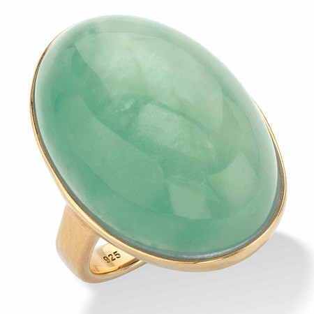 Oval-Cut Genuine Green Jade Cabochon Ring in 14k Gold over Sterling Silver at PalmBeach Jewelry
