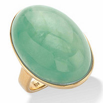 Oval-Cut Genuine Green Jade Cabochon Ring in 14k Gold over Sterling Silver