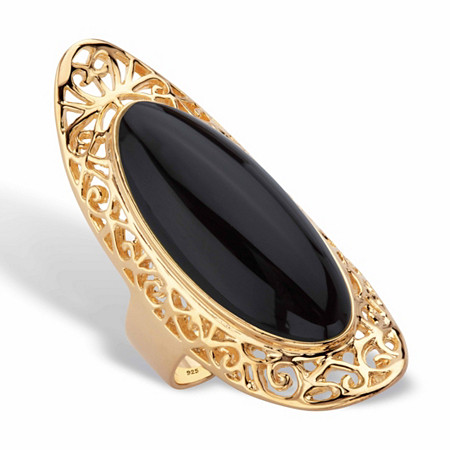 Genuine Black Jade Oval Cabochon Scroll Ring in 14k Gold over Sterling Silver at PalmBeach Jewelry