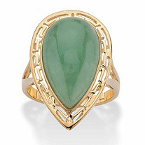 Pear-Cut Genuine Green Jade Cutout Halo Cabochon Ring in 14k Gold over Sterling Silver