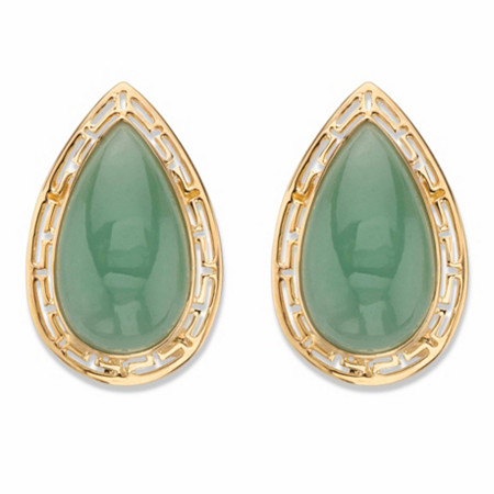 Pear-Cut Genuine Green Jade Cutout Halo Cabochon Earrings in 14k Gold over Sterling Silver at PalmBeach Jewelry