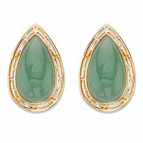 Pear-Cut Genuine Green Jade Cutout Halo Cabochon Earrings in 14k Gold over Sterling Silver