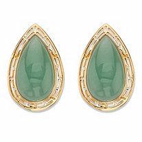 SETA JEWELRY Pear-Cut Genuine Green Jade Cutout Halo Cabochon Earrings in 14k Gold over Sterling Silver