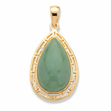 Pear-Cut Genuine Green Jade Cutout Halo Cabochon Pendant in 14k Gold over Sterling Silver at PalmBeach Jewelry