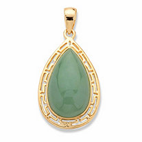 Pear-Cut Genuine Green Jade Cutout Halo Cabochon Pendant in 14k Gold over Sterling Silver