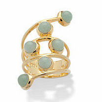 Round Genuine Green Jade Multi-Row Cabochon Wrap Ring in Goldtone over Sterling Silver
