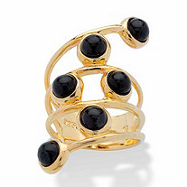 Round Genuine Black Jade Multi-Row Cabochon Wrap Ring in 14k Gold over Sterling Silver