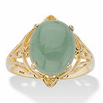Oval Genuine Green Jade Dome Scrolled Cabochon Ring in 14k Gold over Sterling Silver
