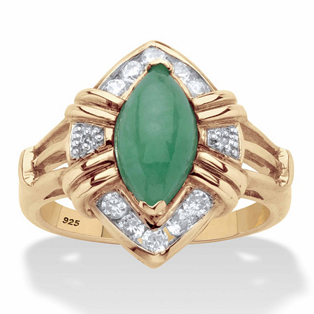 Marquise-Cut Genuine Green Jade and White Topaz Halo Ring .44 TCW in 14k Gold over Sterling Silver at PalmBeach Jewelry