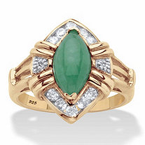 Marquise-Cut Genuine Green Jade and White Topaz Halo Ring .44 TCW in 14k Gold over Sterling Silver