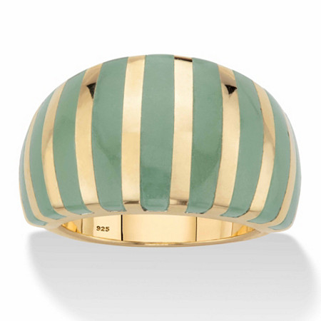 Genuine Green Jade Striped Dome Ring in 14k Gold over Sterling Silver at PalmBeach Jewelry