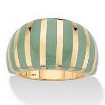 Genuine Green Jade Striped Dome Ring in 14k Gold over Sterling Silver