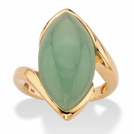 Marquise-Cut Genuine Green Jade Cabochon Bypass Ring in 14k Gold over Sterling Silver at PalmBeach Jewelry