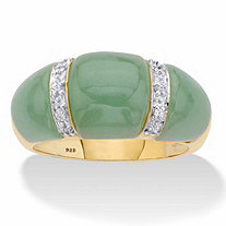 Genuine Green Jade and White Topaz Dome Ring .20 TCW in 14k Gold over Sterling Silver