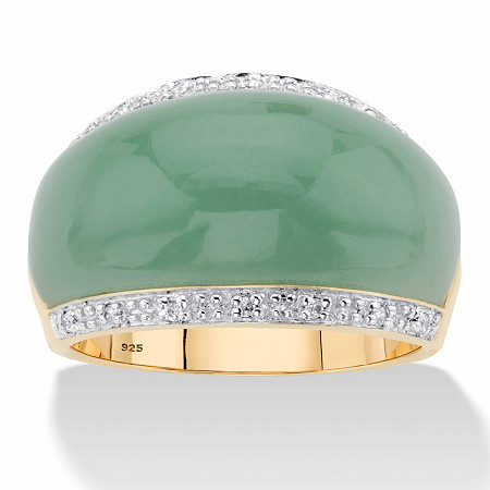 Genuine Green Jade and White Topaz Dome Ring .56 TCW in 14k Gold over Sterling Silver at PalmBeach Jewelry