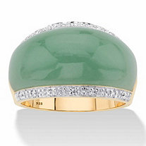 Genuine Green Jade and White Topaz Dome Ring .56 TCW in 14k Gold over Sterling Silver