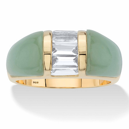 Genuine Green Jade and White Topaz Dome Ring .85 TCW in 14k Gold over Sterling Silver at PalmBeach Jewelry