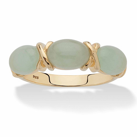 """Oval-Cut Genuine Green Jade """"X & O"""" Ring in 14k Gold over Sterling Silver at PalmBeach Jewelry"""