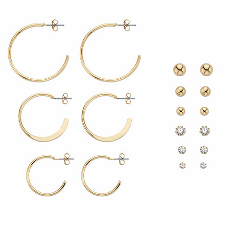 "Round Crystal 9-Pair Stud and Hoop Earring Set in Gold Tone 1""-13/8"" at PalmBeach Jewelry"