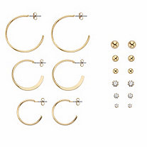 "Round Crystal 9-Pair Stud and Hoop Earring Set in Gold Tone 1""-13/8"""