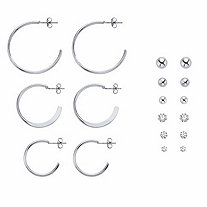 Round Crystal Silvertone 9-Pair Stud and Hoop Earring Set