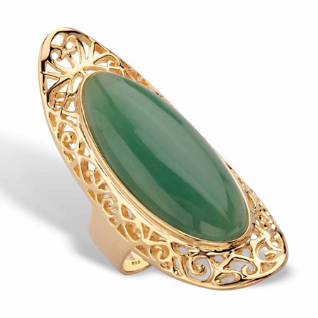 Genuine Green Jade Oval Cabochon Scroll Ring in 14k Gold over Sterling Silver at PalmBeach Jewelry
