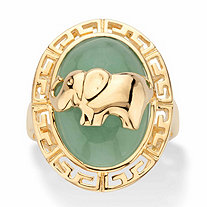 Genuine Green Jade Oval Dome Elephant Ring in 14k Gold over Sterling Silver