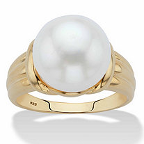 Genuine Freshwater Cultured Pearl Ring in 14k Gold over Sterling Silver (11mm)