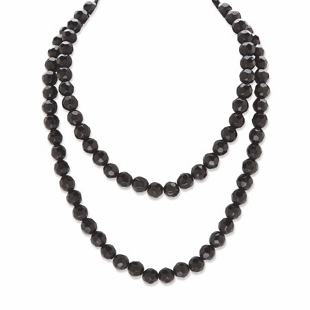 """Round Beaded Simulated Black Onyx Necklace Black Ruthenium-Plated 36"""" at PalmBeach Jewelry"""