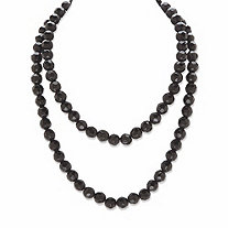 Round Beaded Simulated Black Onyx Black Ruthenium-Plated Necklace 36""