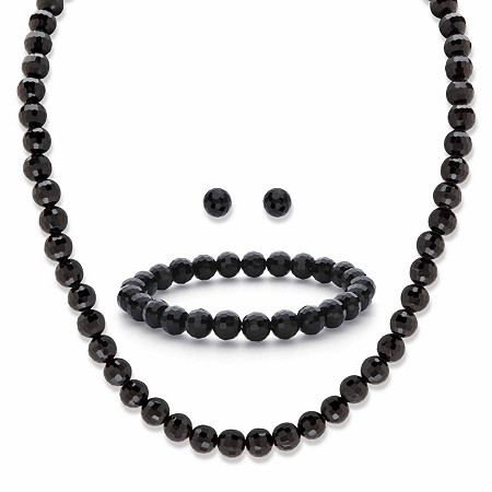 """Round Simulated Black Onyx Silvertone 3-Piece Necklace, Stud Earring and Bracelet Set 18"""" - 21"""" at PalmBeach Jewelry"""