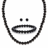 Round Simulated Black Onyx Silvertone 3-Piece Necklace, Stud Earring And Bracelet Set