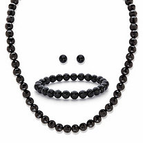 "Round Simulated Black Onyx Silvertone 3-Piece Necklace, Stud Earring and Bracelet Set 18"" - 21"""