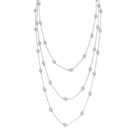 "Round Cream Simulated Pearl Station Necklace in Silvertone 70"" at PalmBeach Jewelry"