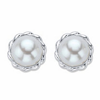 Round Cream Simulated Pearl Banded Halo Button Earrings in Silvertone