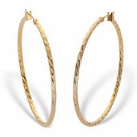 """Banded Hoop Earrings In Goldtone 2"""""""