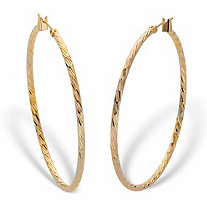 Banded Hoop Earrings in Goldtone 2
